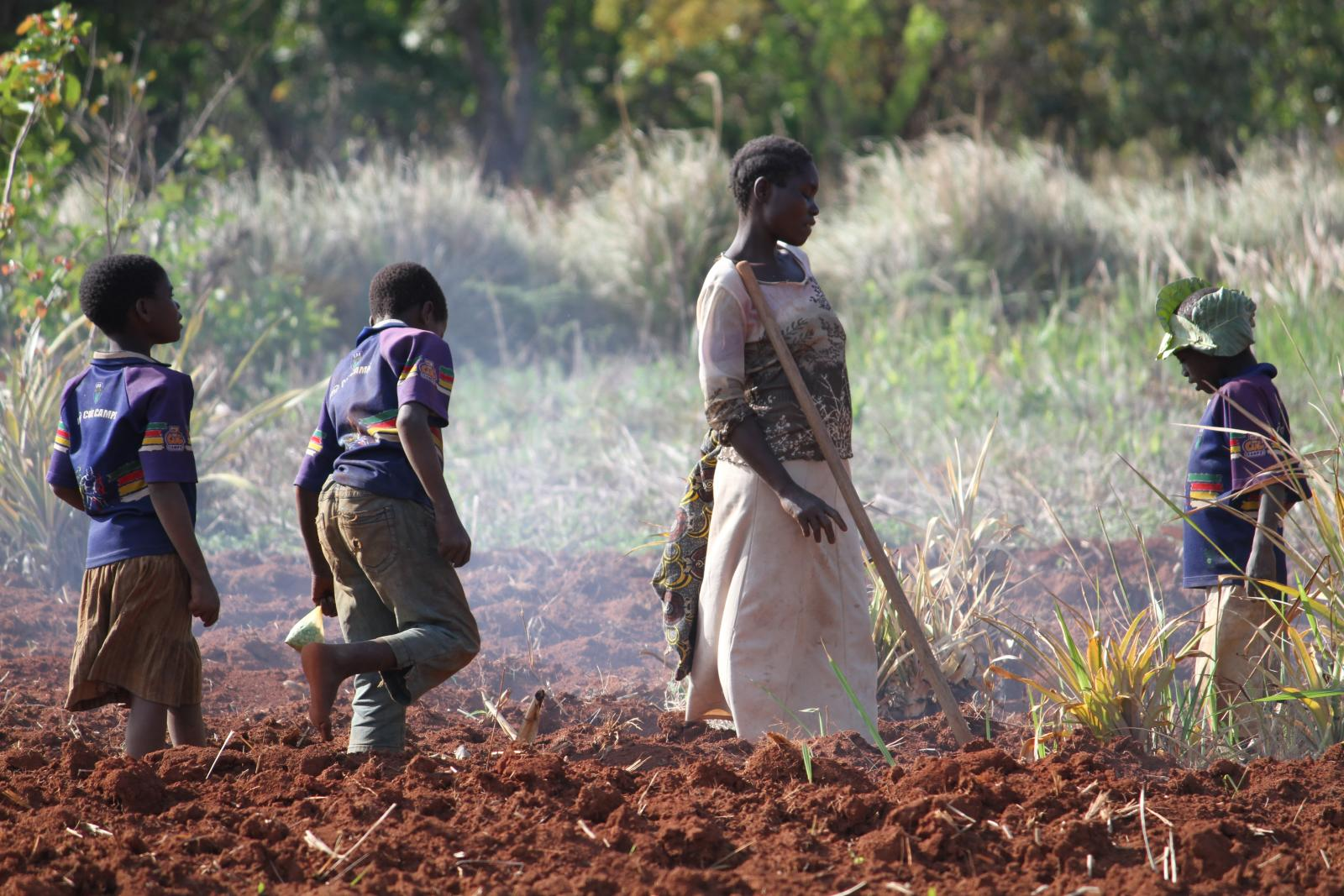Mother & sons farming as part of Self-Help Group in Lusangazi