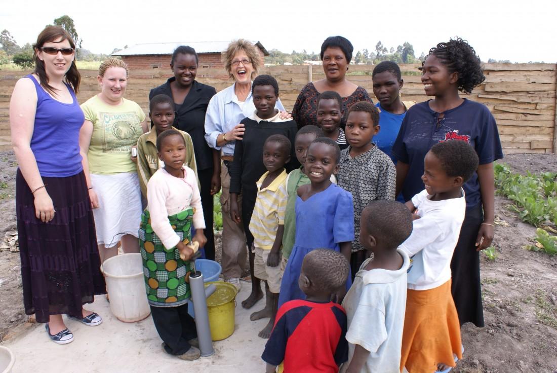 Jacquie at pump Malawi 2009