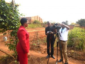Rose on camera with Malawi Broadcasting Corporation