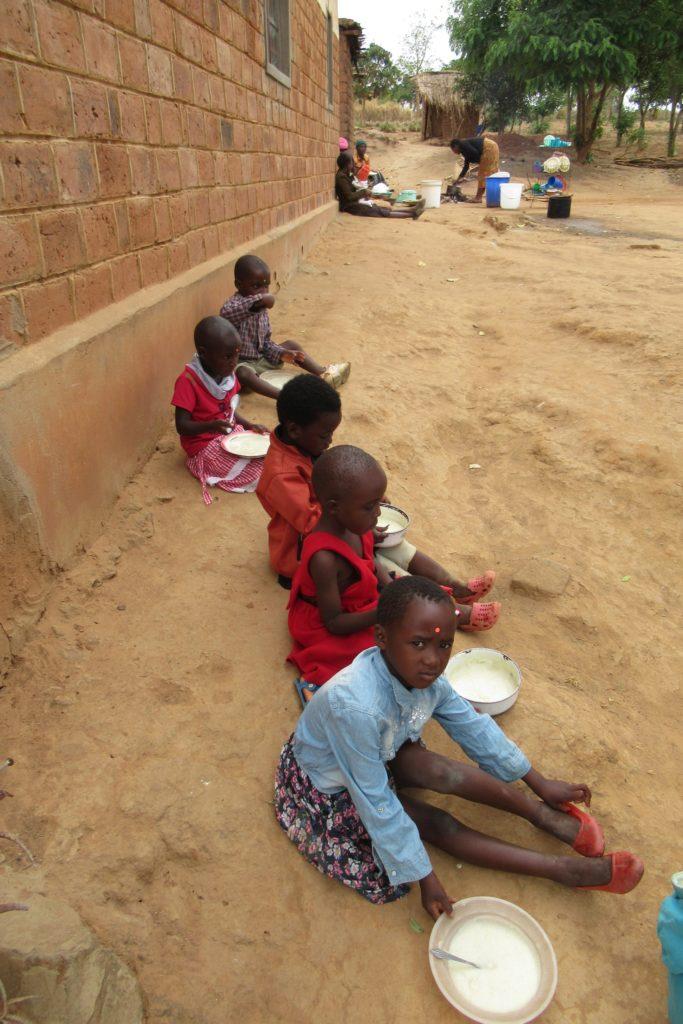 Visit to Mini preschool, Choma kids outside